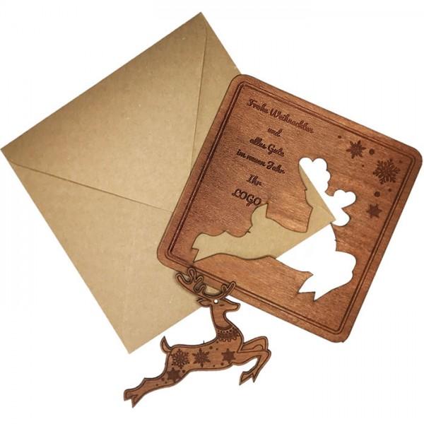 Kreative Weihnachtskarte aus Holz FS1038