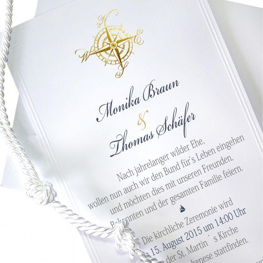 Klassische Einladung Zur Hochzeit Nr. 76 (Einzelkarte) In Weiss / Gold Mit  Vergoldetem Kompass Und Knotenbändchen Kaufen » Kartenzia