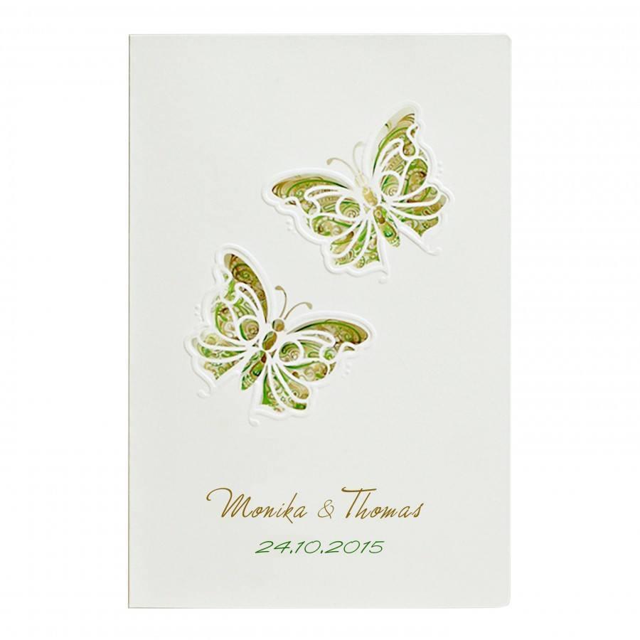 Designer Hochzeitseinladung Nr. 36 (Klappkarte) in ecru / grün mit ...