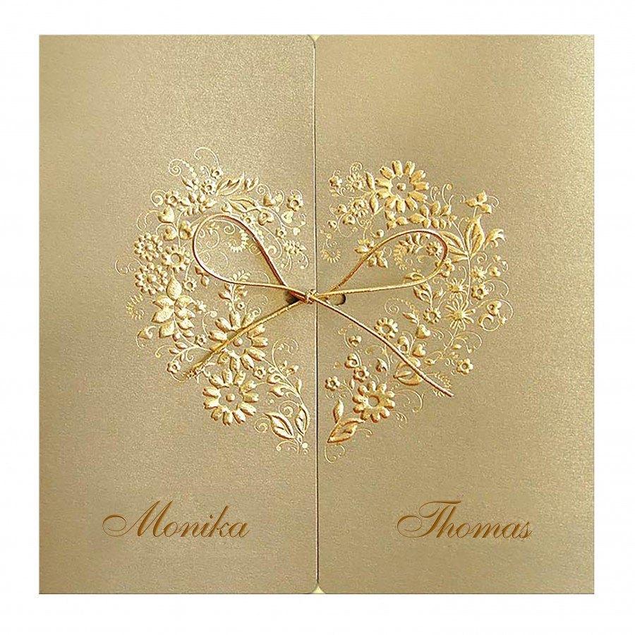 Designer Hochzeitseinladung Nr 12 Klappkarte Im Opalisierten Gold