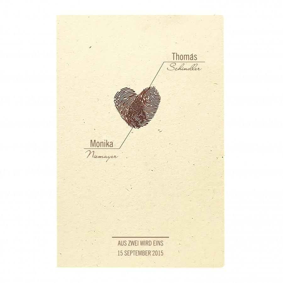 Designer Hochzeitseinladung Nr. 31 (Klappkarte) In Sandfarbenem Ecru Mit  Herz Aus Fingerabdrücken Gestalten Lassen » Kartenzia